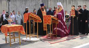 В Курске торжественно заложили фундамент часовни Феодосия Печерского