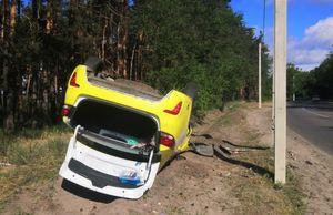 Водитель Kia Rio врезался в столб и перевернулся в Воронеже